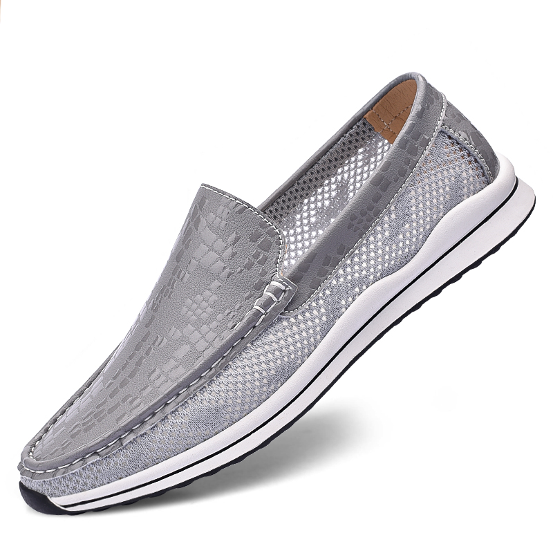 Men's Loafers Summer Fashion High Quality Mesh Splicing Breathable Loafers Hand-Stitched Soles Luxury Brand Casual Lazy Shoes