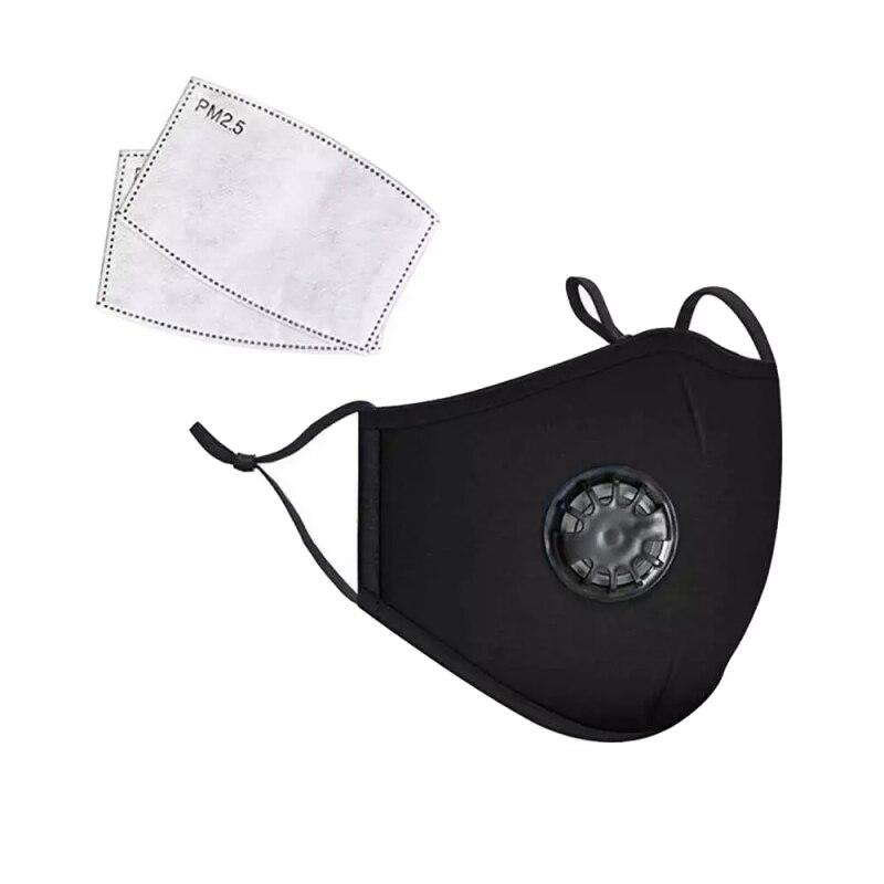 Хлопковая черная маска для рта PM2.5, Пылезащитная маска с активированным углем, Ветрозащитная маска для рта, защита от бактерий, маски для лиц...