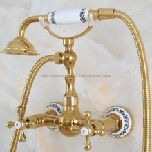 Mixer Tap Faucet-Set Wall-Mounted Hand-Shower Bathroom Brass with Nna828 Rainfall Gold-Color