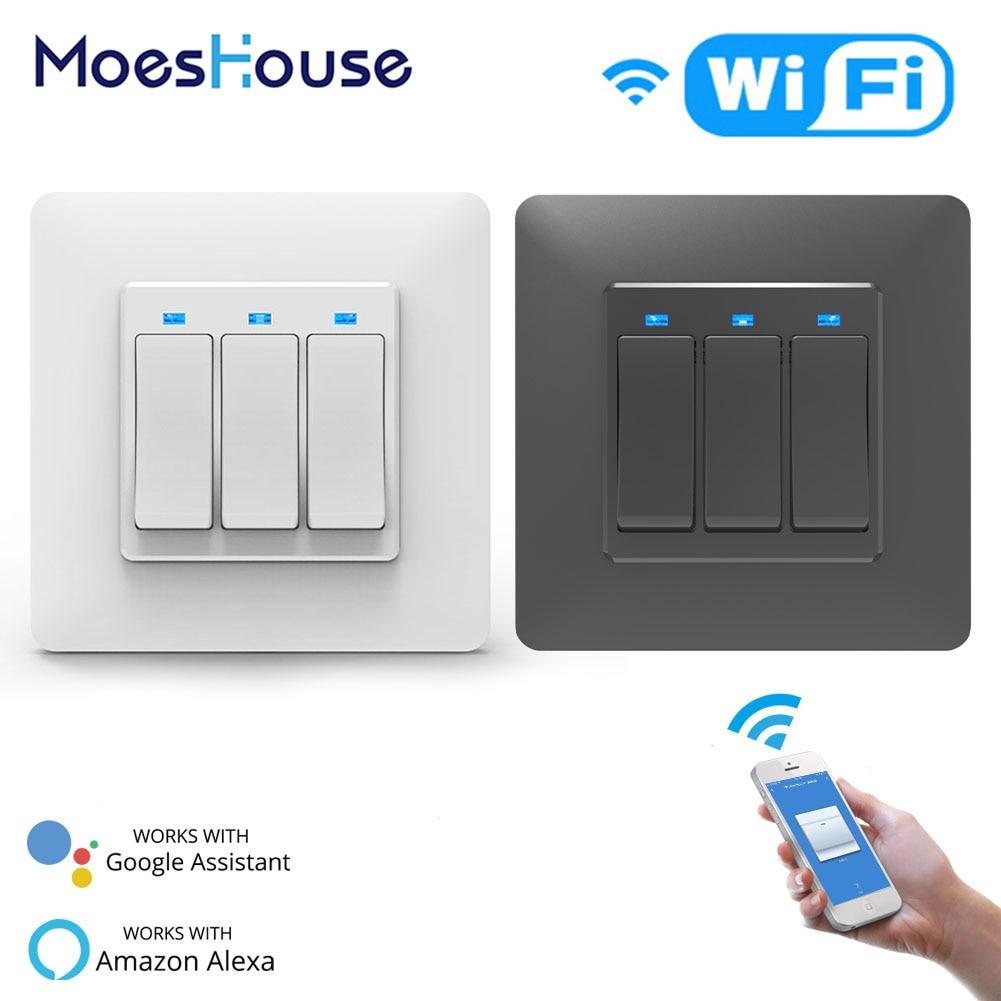 WiFi DE Smart Push Button Switch 3Gang Removable&Detachable  Smart Life Tuya App Remote Control Work with  Alexa Google Home