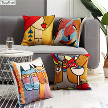 Topfinel Picasso Pillowcase Embroidery Cushions Covers Decorative Throw Pillows Covers for Sofa Car Abstract Pillowcase 45x45cm