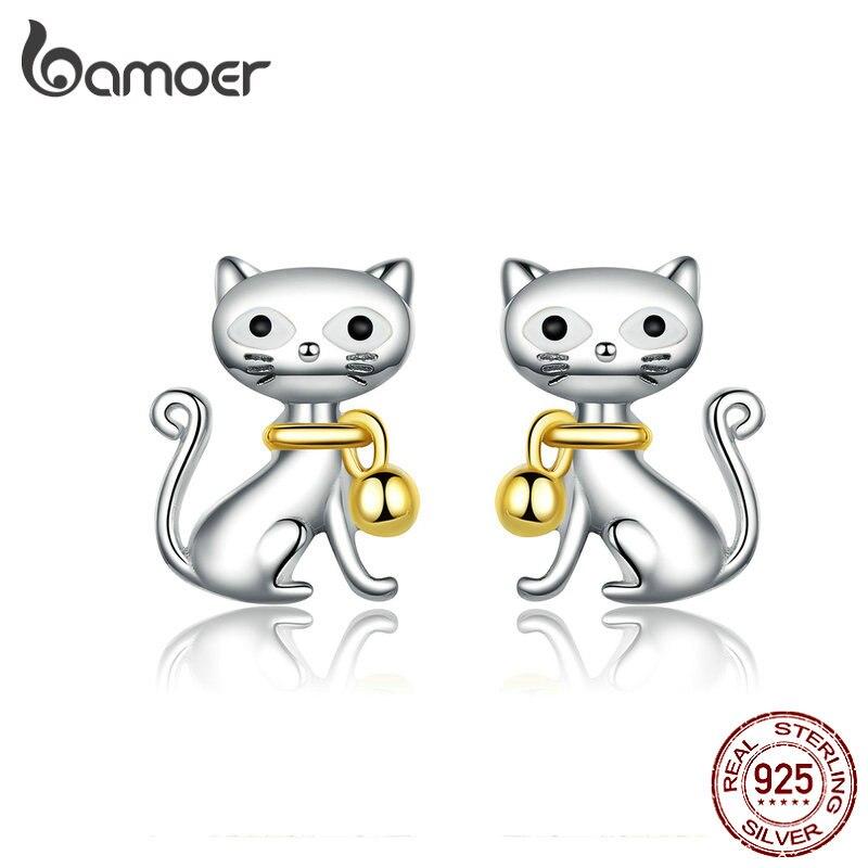 BAMOER 2019 New 925 Sterling Silver Cute Cat Pet Bell Animal Stud Earrings For Women Studs Jewelry  Gifts For Kids BSE112