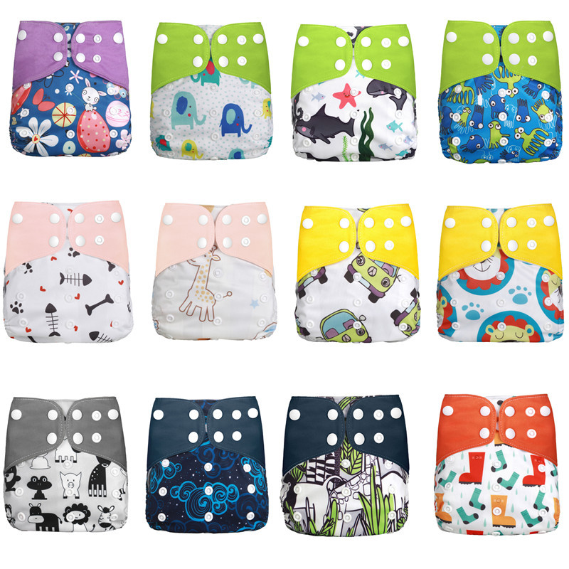 1pcs Cloth Diapers Reusable Cloth Diapers Baby Cover Washable Nappies Carton Green Nappy Waterproof All In One Nappy