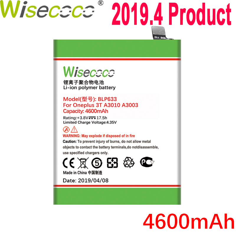 WISECOCO 4600mAh BLP633 <font><b>Battery</b></font> For OnePlus 1+ <font><b>3T</b></font> <font><b>One</b></font> <font><b>Plus</b></font> <font><b>3T</b></font> Three T Phone In Stock Latest Production High Quality <font><b>Battery</b></font> image