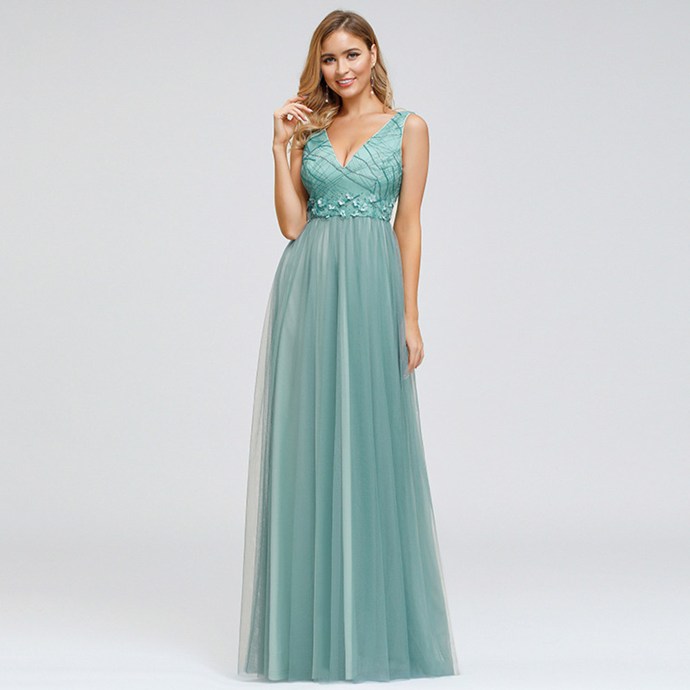 Lake Blue Elegant Evening Dress V Neck Sleeveless A Line Floor Length Tulle Women Wedding Party Formal Gowns Evening Dresses
