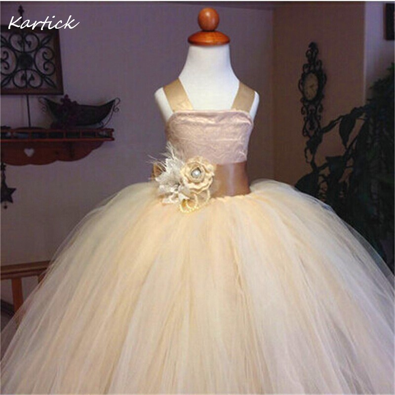 Vintage Lace Rustic Champagne Girl's Pageant Gowns New Spaghetti Straps Fluffy Tulle Ball Gown Kids/Children Flower Girl Dress