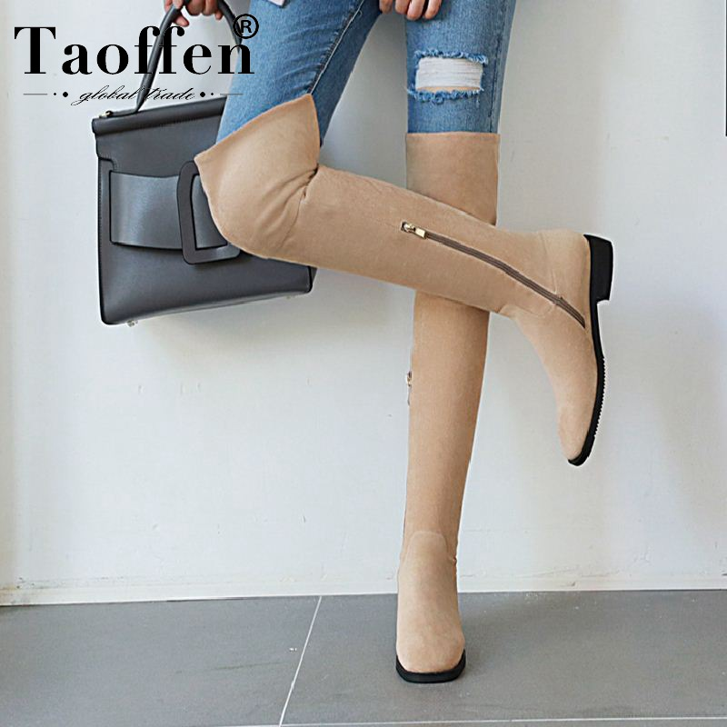 Taoffen Ladies 4 Colors Plus Size 33-46 Zipper Over Knee Boots Women Comfortable High Quality Flats Boots Outdoor Footwear