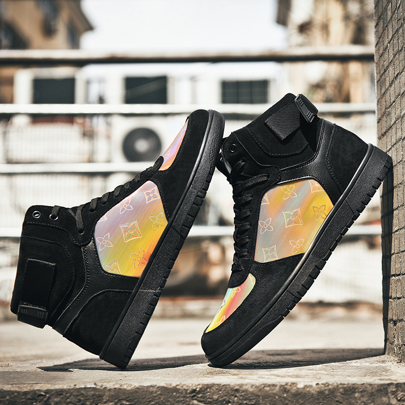 YSOKRAJ <font><b>Unisex</b></font> <font><b>Skateboarding</b></font> <font><b>Shoes</b></font> Men High Top Sneakers Hip Hop Wearable Sport Ankle Boots Women Autumn Summer Footwear Fluff image
