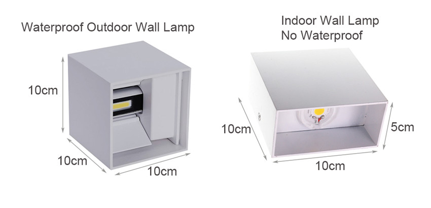 LED Indoor Lighting Wall Lamp & Outdoor Waterproof IP65 Porch Garden Wall Lamp 6W/12W AC 85-265V For Bath Corridor NR-126