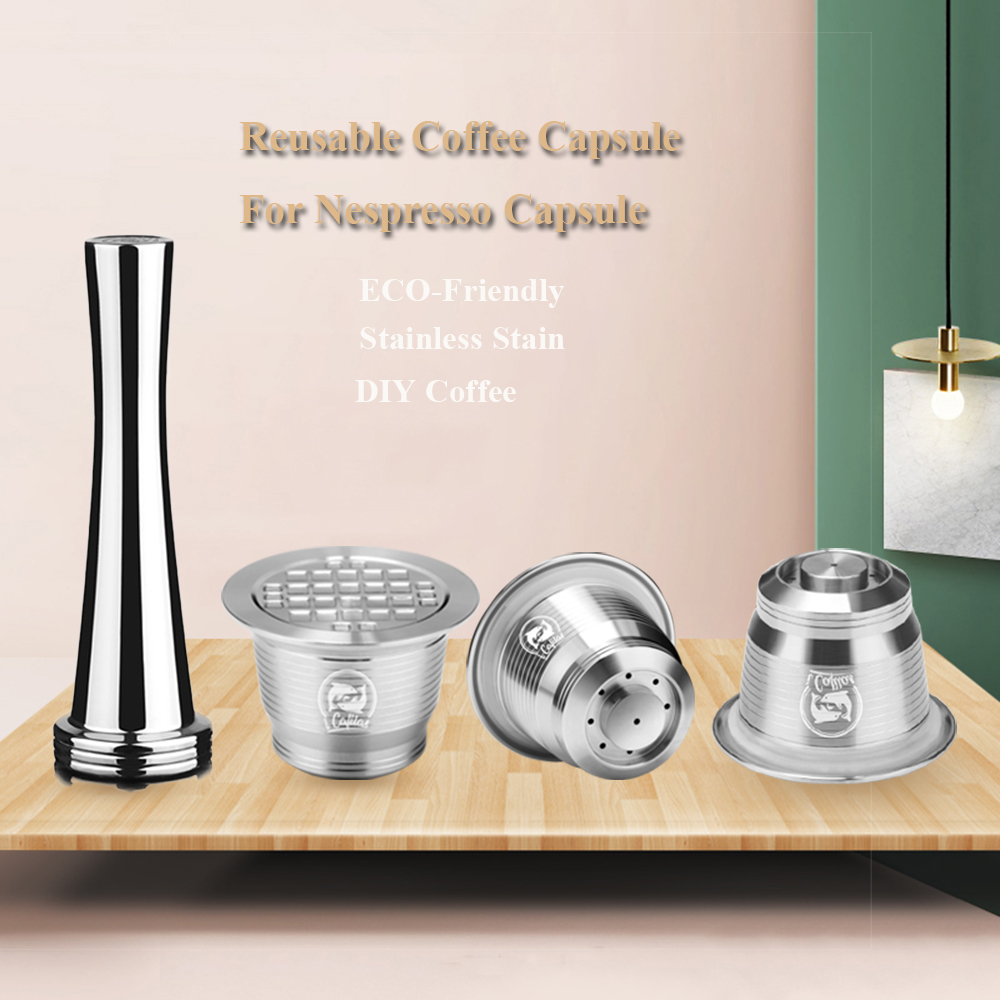 For Nespresso Stainless Steel Refillable Reusable Coffee Capsule Coffee Tamper Pod For Nespresso Machine(China)