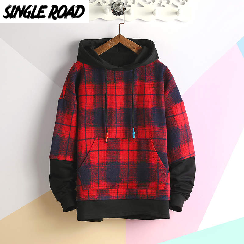 SingleRoad Men's Hoodies 2020 Oversized Harajuku Japanese Streetwear Sweatshirt Hip Hop Plaid Yellow Hoodie Men Sweatshirts Male
