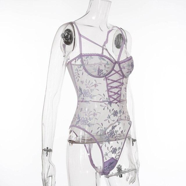 Yimunancy dentelle florale body femmes pansement maigre body dames Transparent Sexy Teddies body Femme