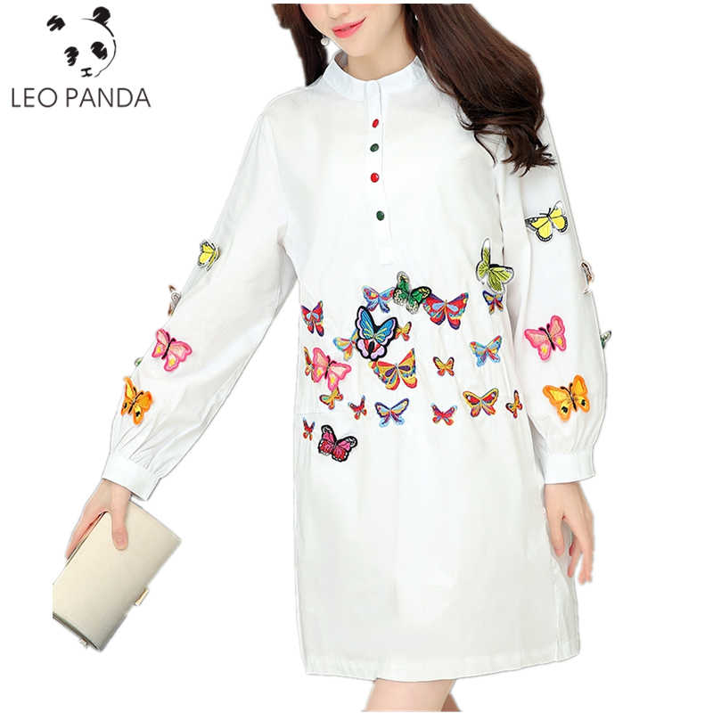 Blouse White 2020 Spring Summer Long Sleeve Butterfly Embroidery Appliques Casual Shirt Dress Women Tops Ladies Clothing TTT53
