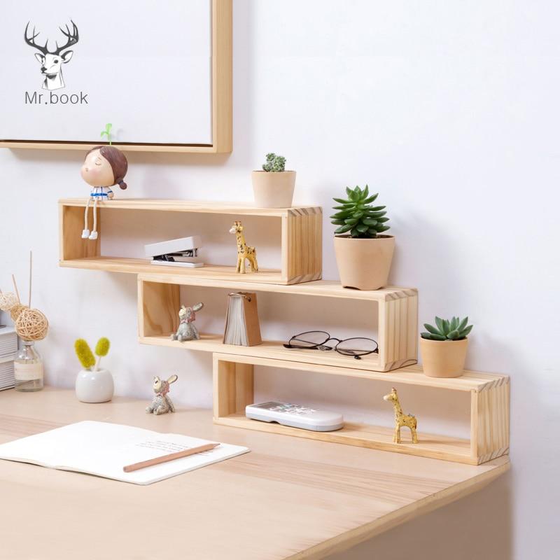 Wooden Desktop Storage Rack Organization For Home Office Desk Stationery Holder Plant Shelve Pine Rack Stand Flower Display