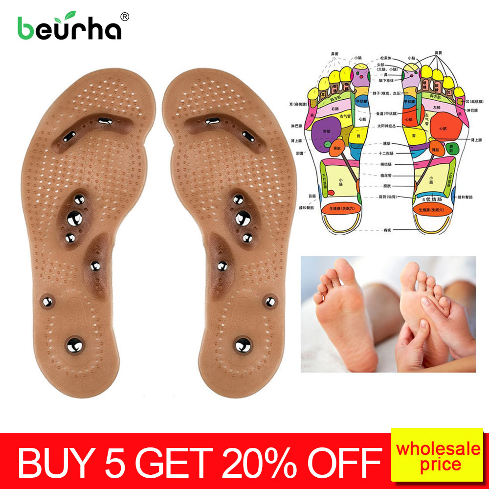 Acupressure Slimming Insoles Foot Massager Magnetic Therapy Weight Loss