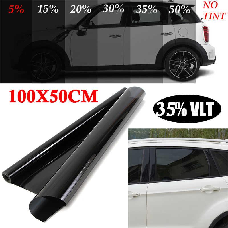 รถฟิล์ม Anti-Fading PET Office สีดำแก้ว VLT House 35% Tint Sunshade 50*100 ซม. camper
