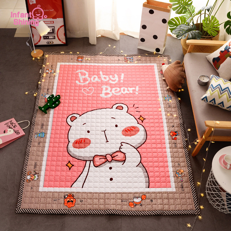 Infant Shining Baby Cartoon Cotton Mat 1.5cm Thicken Soft Washable Foldable Portable Home Kitchen Kids Crawling Pad