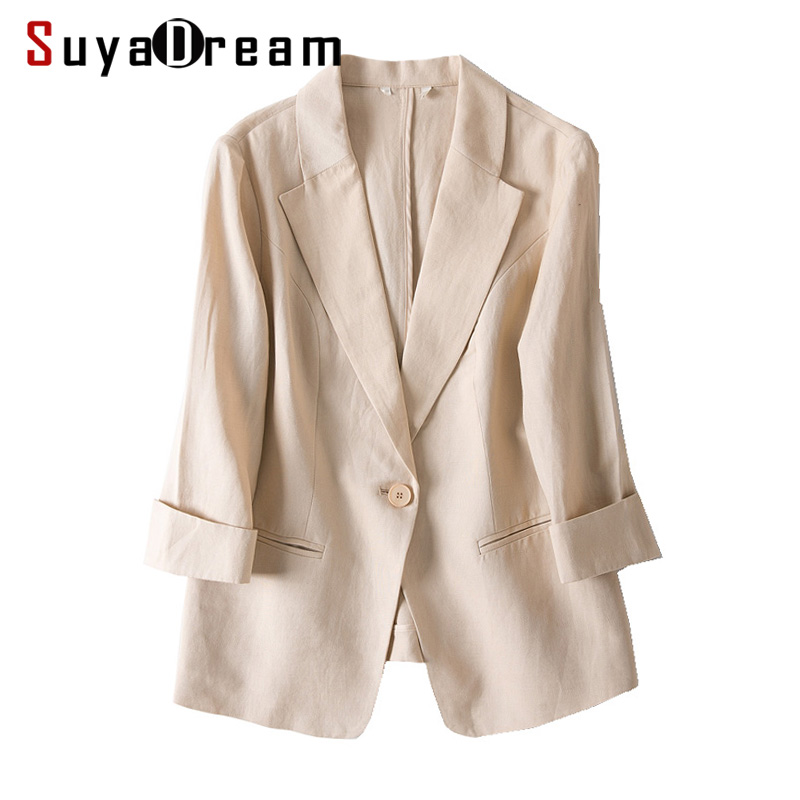 Women Linen Blazers Solid 3/4 Sleeved Single Button Office Lady Blazer 2019 NEW Fall Winter Out Wear