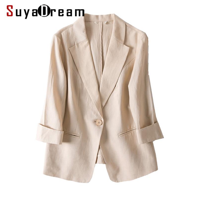 Women Linen Blazers Solid 3/4 Sleeved Single Button Office Lady Blazer 2019 NEW Fall Winter Out Wear