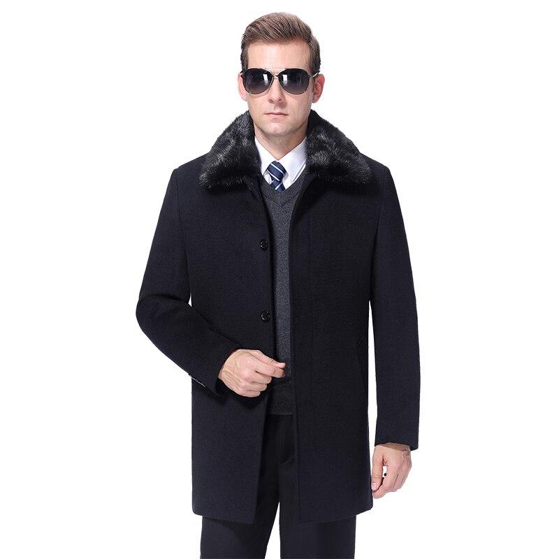 2020 Men Wool Coat Winter Woolen Coat Cashmere Long Coats Wool Blend Jacket Autumn Men Overcoat Fur Collar Detachable Fur Lining