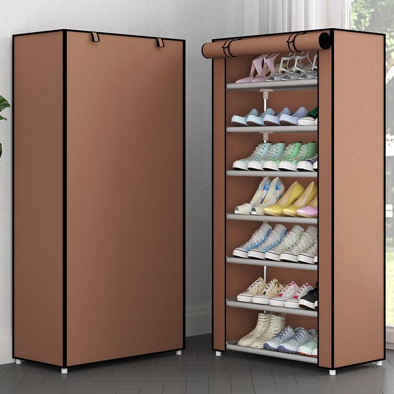 Простая многослойная полка для обуви из нетканого материала, шкаф для обуви для прихожей, компактный комбинированный органайзер для хранен...