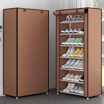 Простая многослойная стойка для обуви из нетканого материала шкаф для обуви для прихожей компактный комбинированный органайзер для хранен...