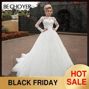 Image 1 - אופנה להסרה 2 ב 1 חתונה שמלת BECHOYER N238 אפליקציות אונליין 3D פרח נסיכת הכלה שמלת מותאם אישית Vestido דה Noiva