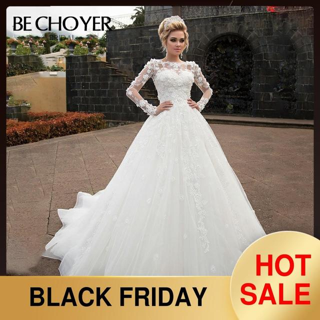 אופנה להסרה 2 ב 1 חתונה שמלת BECHOYER N238 אפליקציות אונליין 3D פרח נסיכת הכלה שמלת מותאם אישית Vestido דה Noiva