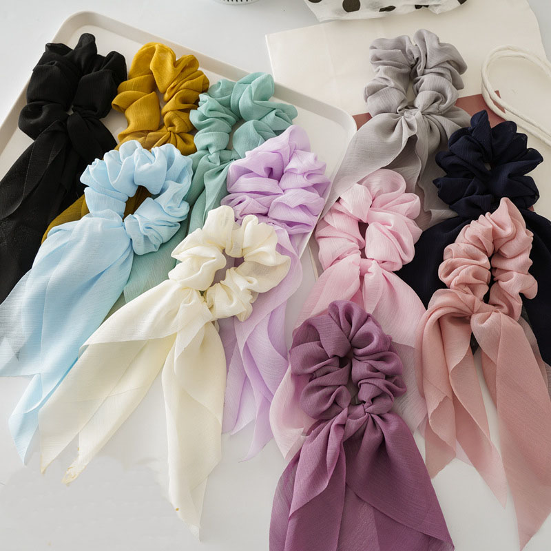 Double Layer Chiffon Bow Long Ribbon Scrunchie Hair Ties Women Girl Hair Scarf Gold Buckle Elastic Rubber Bands Hair Accessories