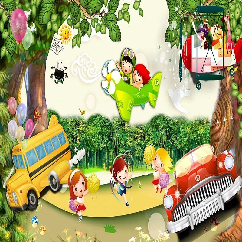 Custom Large Mural 3D Wallpaper Nordic Modern Cartoon Hydrogen Balloon Car Bedroom Mural TV Back Wall Decor Deep 5D Embossed