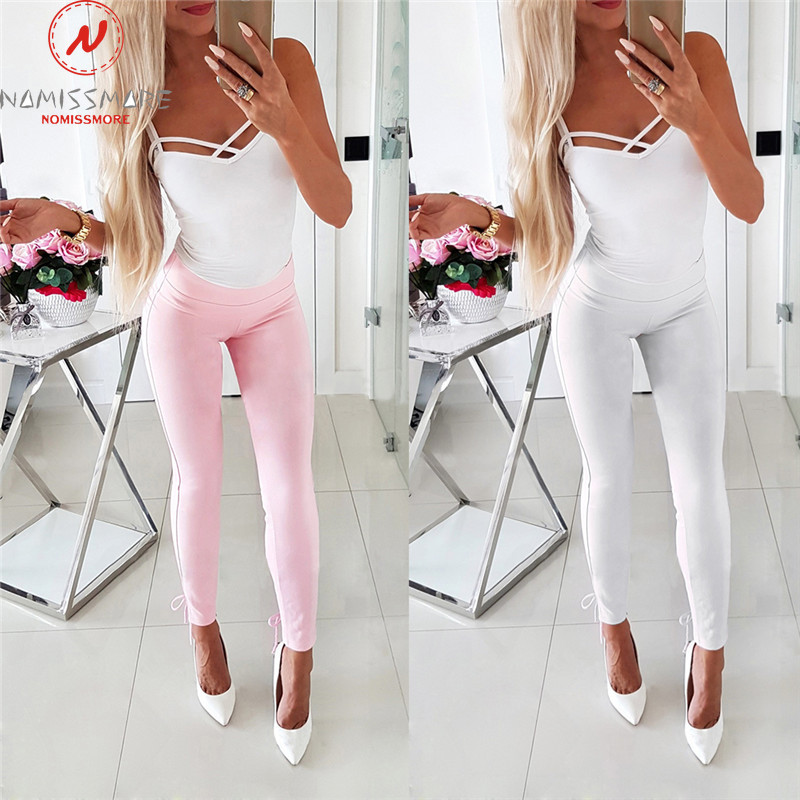 Elegant Women Summer Solid Color Long Trousers Cross Bandage Design Pockrts Decor Elastic High Waist Slim Hips Thin Pencil Pants