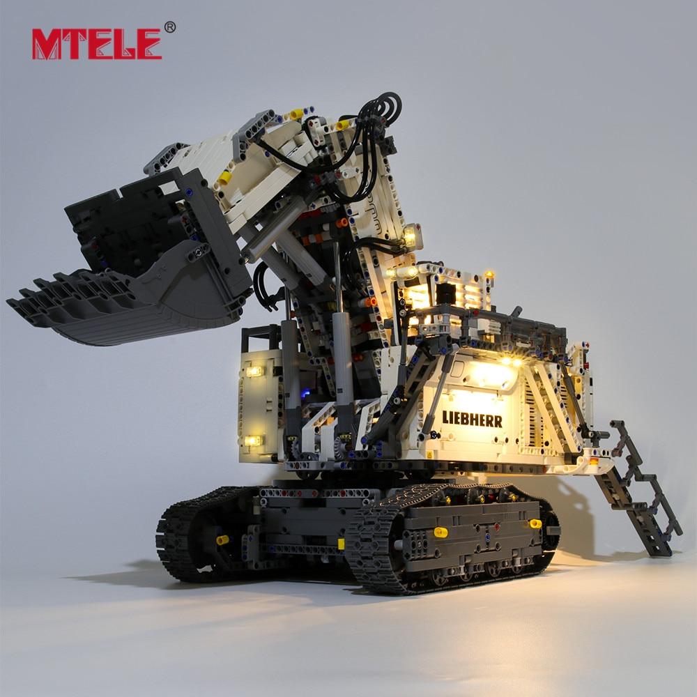 MTELE Brand LED Light Up Kit For Technic Liebherr R 9800 Excavator Lighting Set Compatile With 42100
