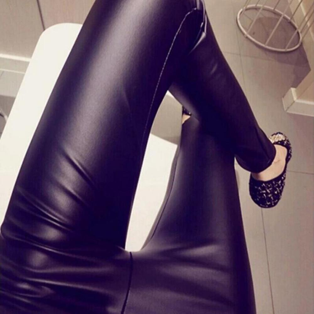 Autumn Winter Women Thin PU Leather Pants Female Sexy Elastic Stretch Faux Leather Skinny Pencil Pant Women Tight Trouser