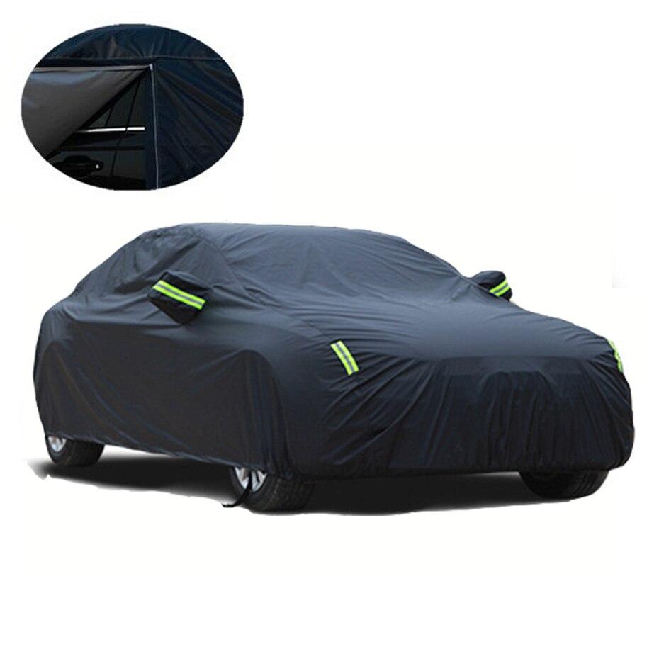 Universel noir imperméable à l'eau pleine bâches de voiture neige glace poussière soleil UV ombre couverture intérieur extérieur 7 tailles Auto bâche de voiture pour toutes les saisons