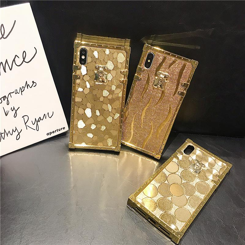 H84c611c6716846008858bd55f8ad4af13 - Hot 3D Luxury Square Gold glitter case for iphone X XR XS MAX 6 S 7 8 soft cover for Samsung S10 Plus S9 S8 coque