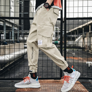 Image 3 - מכנסיים מטען גברים רצים שחור הרמון מכנסיים רב כיס סרטי איש מכנסי טרנינג Streetwear מכנסי קזואל אלסטי מותניים זכר מכנסיים