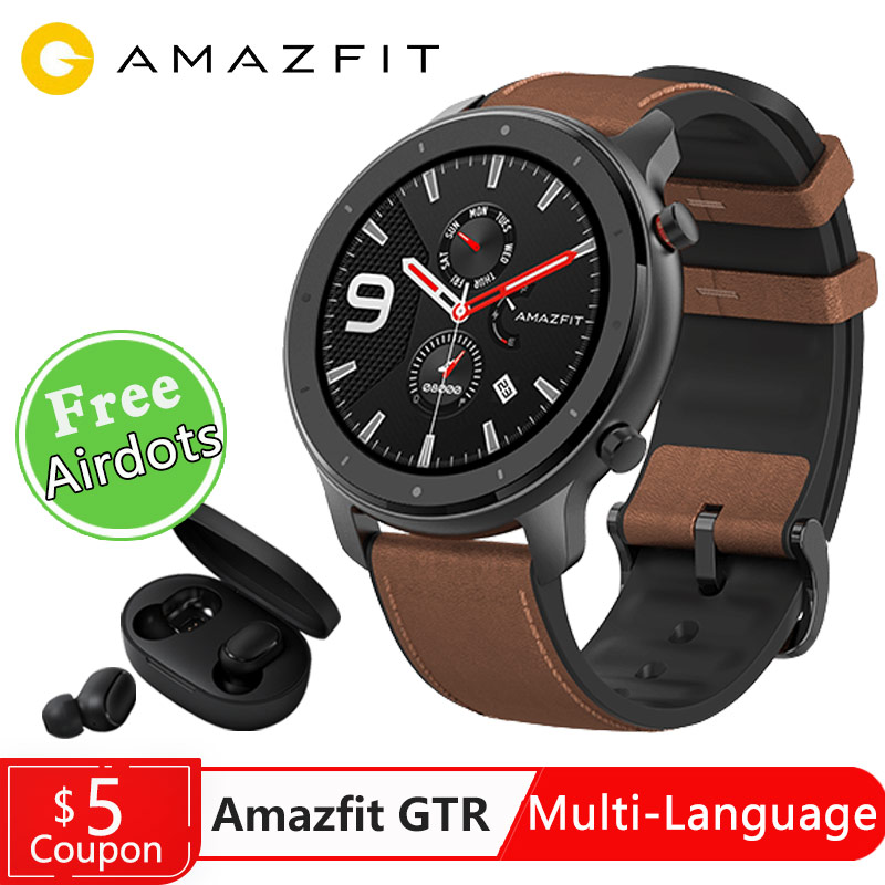 Amazfit Smart-Watch Health-Heart-Rate 42mm Swimming Global-Version 47mm Running Sports