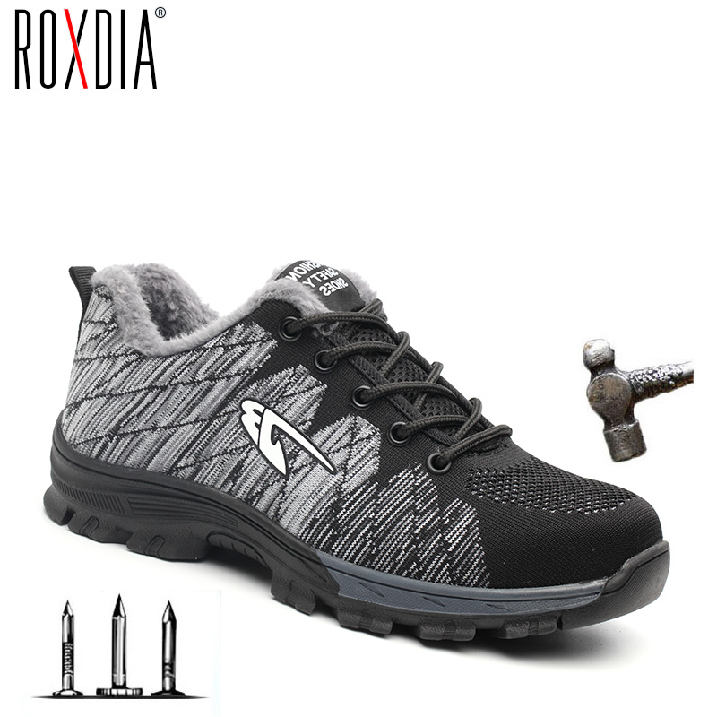 ROXDIA Brand Steel Toecap Women Men Work & Safety Boots Steel Mid Sole Impact Resistant Soft Male Shoes Plus Size 39-48 RXM106