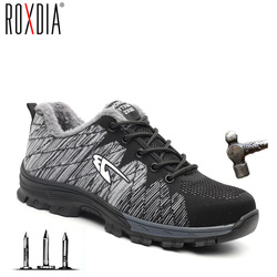 Roxdia marca de aço toecap mulher homem trabalho & botas de segurança aço mid sola resistente ao impacto sapatos masculinos macios mais tamanho 39-48 rxm106