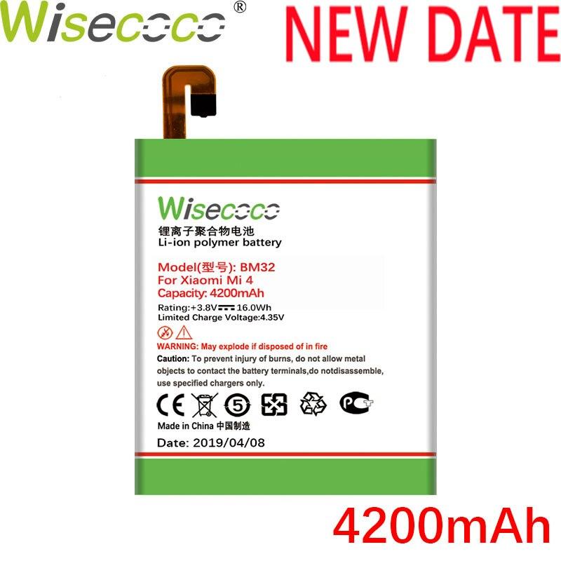 Wisecoco bm32 4200 mah nova bateria de produção para xiao mi 4 mi 4 m4 m 4 telefone alta qualidade substituição da bateria + número de rastreamento