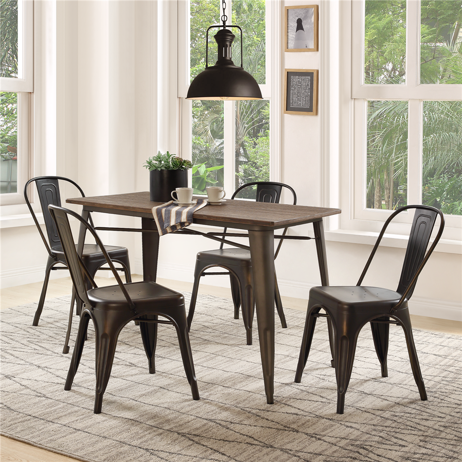 4 Pcs/set Backrest Metal Stools Stackable Dining Chair Home Use Living Room Orgnizable Bar Steel Black Classic Frame Chair