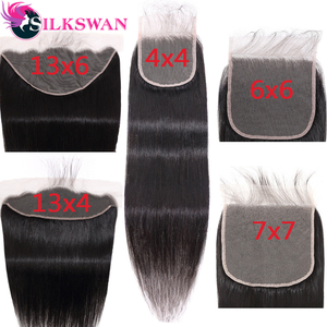 6*6 7x7 Brown Swiss Lace closure 18 20 22 Inch Brazilian Remy Hair 13*4 13x6 Lace Frontal with baby hair Silkswan(China)