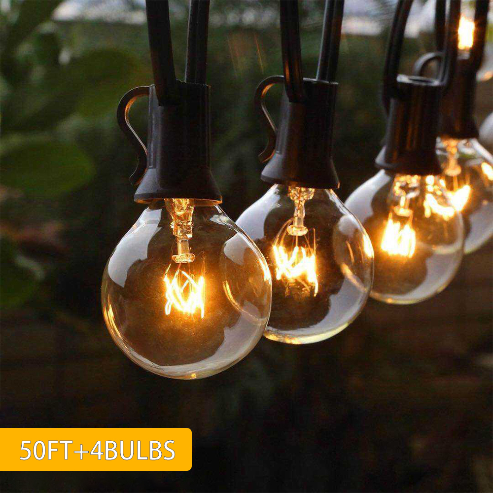Christmas Outdoor Lights 50FT G40 Globe Bulb With 50 Clear Ball Bulbs Hanging Umbrella Christmas Lights Indoor Led Wedding Light