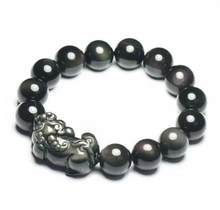Bracelet en perles de mala, 14mm, Super luor obsidienne, pierre lumineuse, breloque esprit Pi Xiu