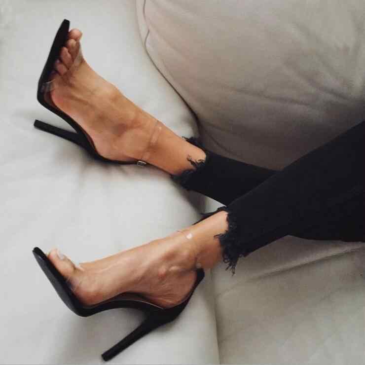 2020 gorąca sprzedaż pcv kobiety sandały na platformie Super wysokie szpilki wodoodporne kobiece przezroczyste kryształowe buty ślubne Sandalia Feminina