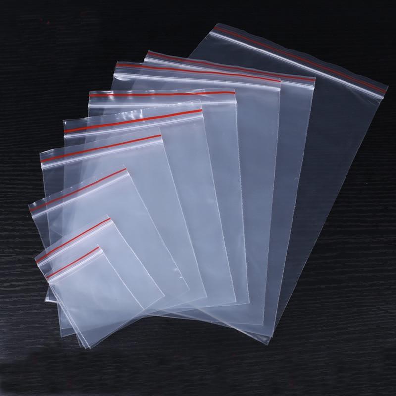 1pack Transparent Resealable Plastic Bags 4*6/6*8/8*12/10*15cm Clear Self Sealing Sachet Zip Ziplock Bag For Jewelry Packaging