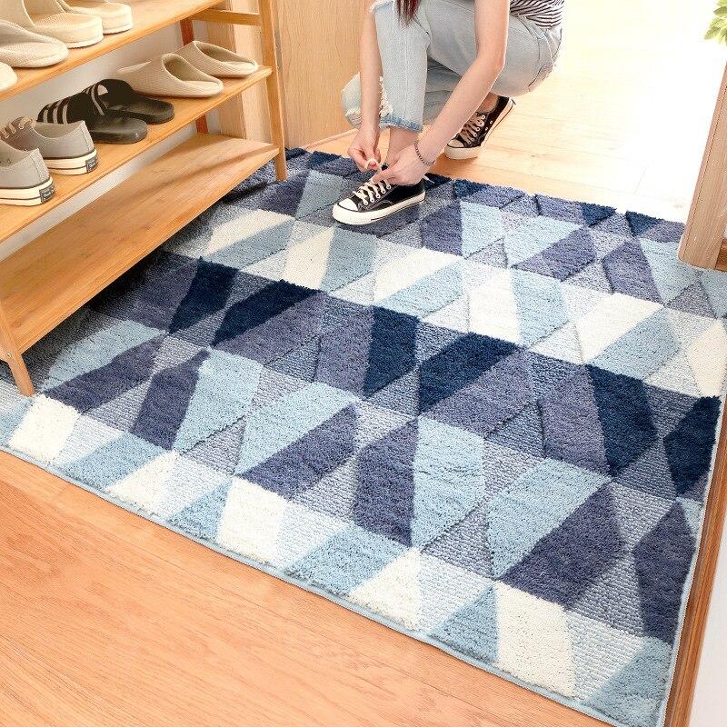 Tapis de sol moderne minimaliste résistant à l'usure tapis de sol personnalisé Double couche floqué tapis de ménage absorbant l'eau Livi