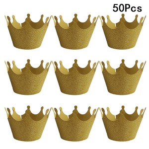 50pcs Gold Crown Cupcake Wrappers Cake Paper Cups Delicate Cupcake Wrapper Muffin Cup Liners Lace Cut Cup Wedding Birthday Party