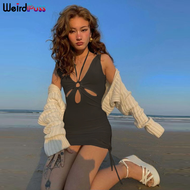 Weird Puss Hollow Out Women Summer Dress Beach Style Deep V Halter Mini Party Skinny Bodycon Side Slit Lace Up Solid Clubwear 3