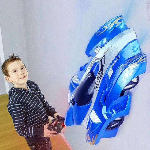 RC Wall Racingรถของเล่นที่มีไฟLEDรีโมทคอนโทรล 360 องศาหมุนStunt Antiแรงโน้มถ่วงของเล่นรถของขวัญเด็ก